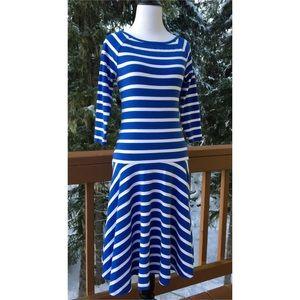 Ralph Lauren Empire Blue Striped Drop Waist Dress
